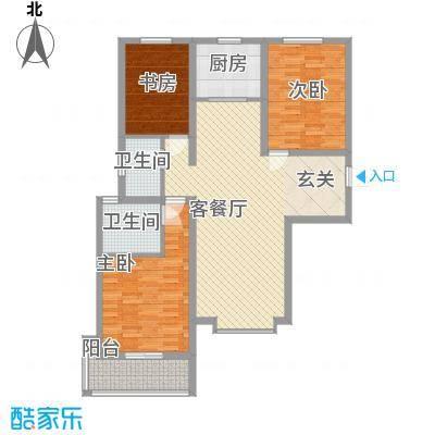 丽景华苑132.00㎡6号楼2单元D-2户型3室2厅2卫1厨