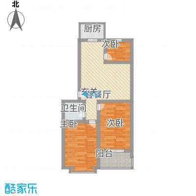 鑫泰园77.61㎡F户型3室2厅1卫1厨