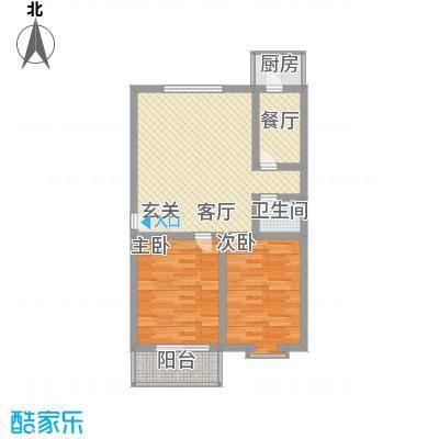 鑫泰园85.43㎡E户型2室1厅1卫1厨