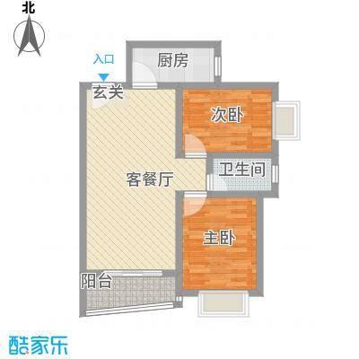 盛世华庭85.00㎡一期2号楼标准层户型2室1厅1卫1厨