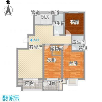 东湖胜景128.50㎡9#10#楼B户型3室2厅2卫1厨