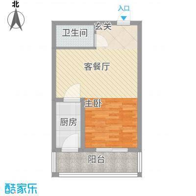 颐和家园58.00㎡19#户型1室1厅1卫1厨