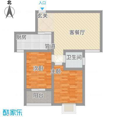 颐和家园87.00㎡9号标准户型2室2厅1卫1厨