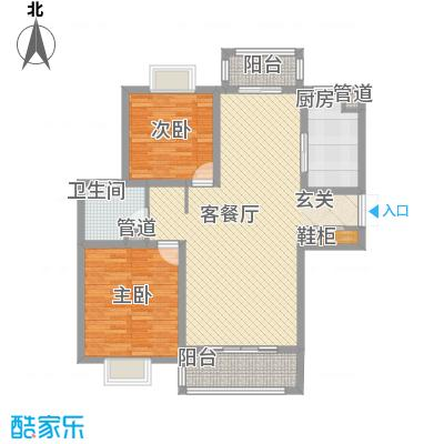 中央花园128.13㎡二期4号楼J户型2室2厅1卫1厨