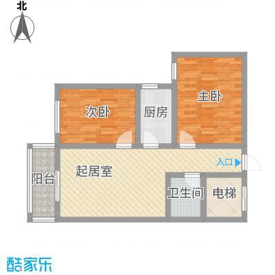 融城国际86.00㎡高层F户型2室1厅1卫1厨