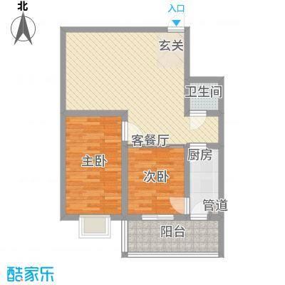 颐和家园85.00㎡19#户型2室1厅1卫1厨