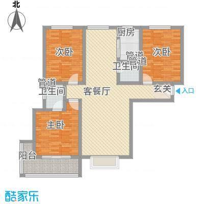 广厦上城136.56㎡6号7号楼A户型3室2厅2卫2厨