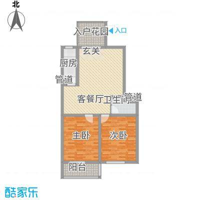 朝阳花园12.00㎡一期小高层3号楼标准层B-2户型2室2厅1卫1厨