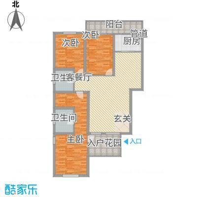 朝阳花园15.00㎡一期小高层7号楼C-1户型3室2厅1卫1厨