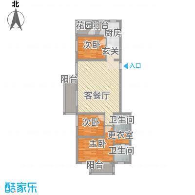 朝阳花园135.00㎡一期3号楼标准层B-2户型3室2厅2卫1厨