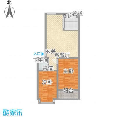 翰林枫景87.40㎡8号楼尚品二居户型2室2厅1卫1厨