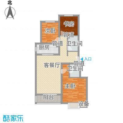 丽景中苑116.82㎡一期2#3#楼A1户型2室2厅2卫1厨