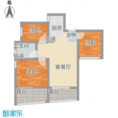 中铁城・悠岚湖67.88㎡D户型3室2厅2卫