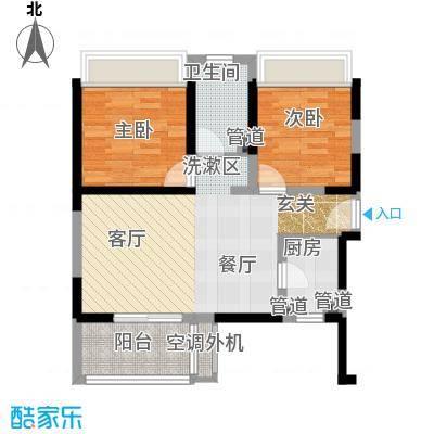 三亚・一山湖E户型2室2厅1卫1厨