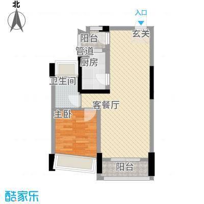 鸿洲・天玺D1户型1室2厅1卫1厨