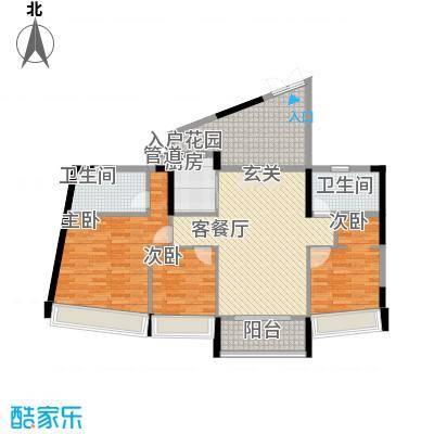 鸿洲・天玺B户型3室2厅2卫1厨