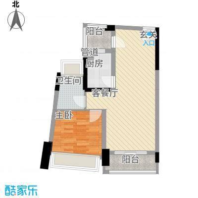 鸿洲・天玺D2户型1室2厅1卫1厨