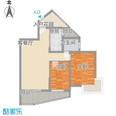 九龙湾4.88㎡1号楼-D户型2室2厅1卫1厨