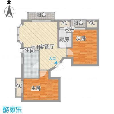 长滩雨林85.00㎡花园洋房2E户型2室1厅1卫