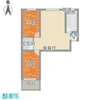 万和峰景84.82㎡11、12号楼A户型2室2厅1卫1厨