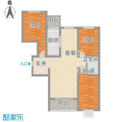丽景名苑126.41㎡二期14号楼户型3室2厅1卫1厨