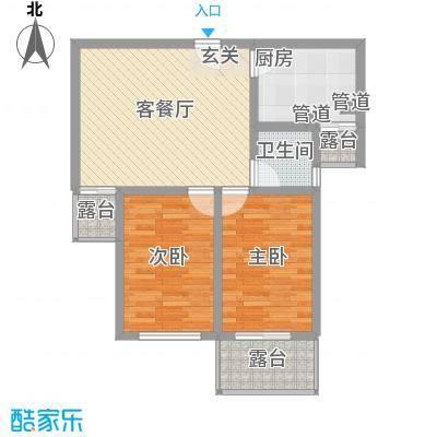 万和峰景86.00㎡11、12号楼B户型2室2厅1卫1厨
