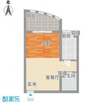 赵庄公寓57.16㎡一期2号楼3户型1室1厅1卫1厨