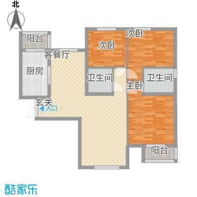 文鼎轩116.40㎡四号楼B户型3室2厅2卫1厨