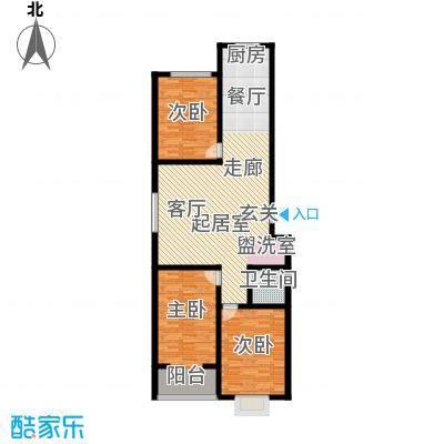 红日景园121.10㎡一期2号楼7户型3室2厅1卫1厨