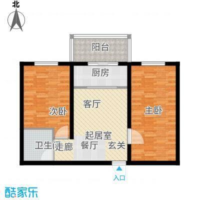 红日景园76.40㎡一期6号楼3户型2室2厅1卫1厨