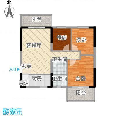 高科花漾年华一期一栋标准层E户型3室2厅2卫1厨