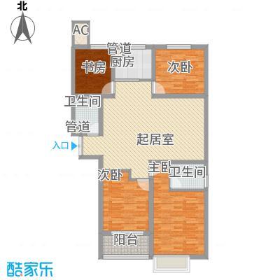 时代广场127.88㎡3#C1户型4室2厅2卫1厨