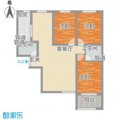 时代广场131.00㎡2#B6户型3室2厅2卫1厨