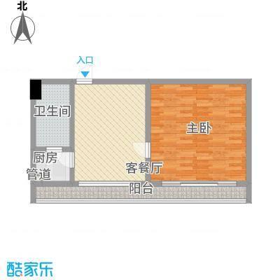 惠普登产权式海景酒店公寓78.00㎡C型户型1室1厅1卫1厨