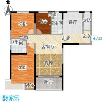 恒大绿洲141.10㎡11、12号楼一单元4户型3室2厅2卫1厨