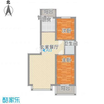 怡水湾17.00㎡C2-2户型2室2厅1卫1厨
