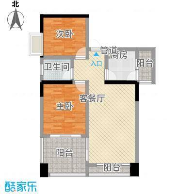 蓝色海岸国际家园第三期87.24㎡1号楼B户型2室2厅1卫1厨