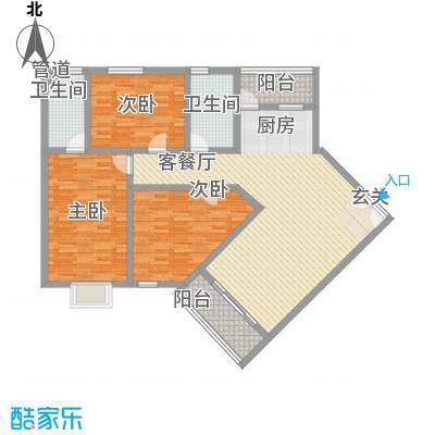 南新悦城8号楼三号房户型3室2厅2卫