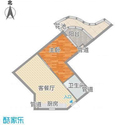 世茂・怒放海83.00㎡AB船长公寓户型1室2厅1卫1厨