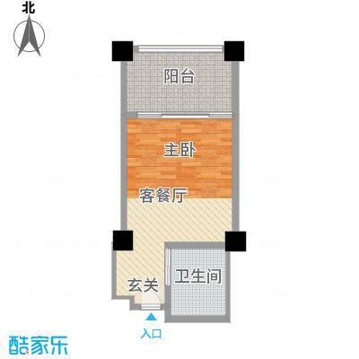 三亚湾海韵度假酒店54.50㎡B-4户型1室1卫