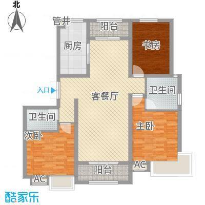 金地格林小镇128.00㎡3#4#楼B户型3室2厅2卫1厨