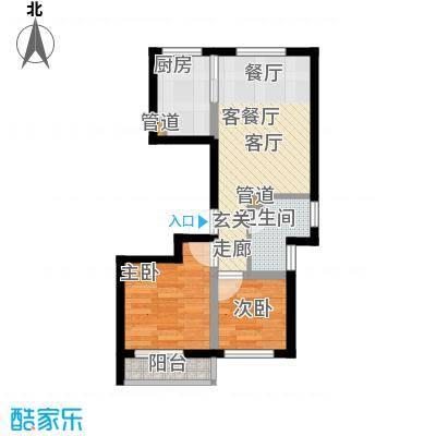 铂金时代4.20㎡1#楼E户型2室2厅1卫1厨