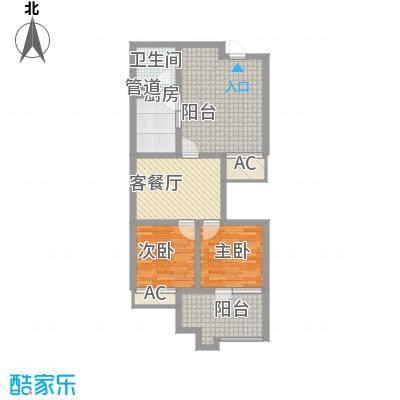 龙潭・温泉印象1.30㎡D户型2室1厅1卫1厨