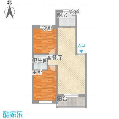 枫尚奥园87.63㎡1-20号楼A2户型2室2厅1卫1厨