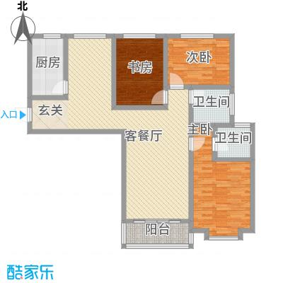 翡翠�亭136.30㎡3号楼D1户型3室2厅2卫1厨