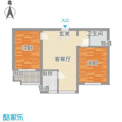 翡翠庄园73.24㎡一期高层1号楼D户型2室2厅1卫1厨