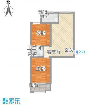 翡翠庄园78.62㎡一期高层1号楼C户型2室2厅1卫1厨