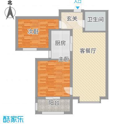 丽景华苑88.64㎡13-15号楼A2户型2室2厅1卫1厨