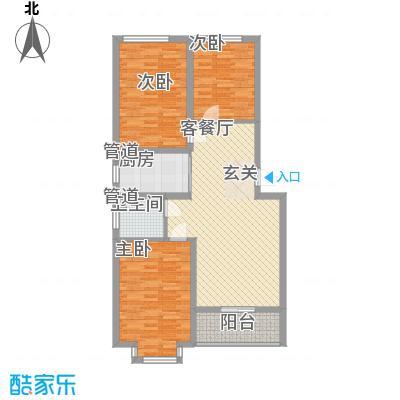 翰林枫景16.20㎡8号楼温馨三居户型3室2厅1卫1厨
