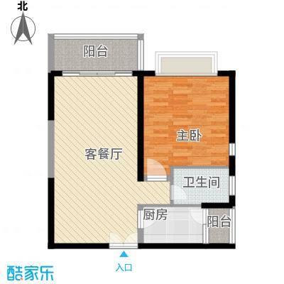 昌达・风华海月83.23㎡A3户型1室2厅1卫1厨